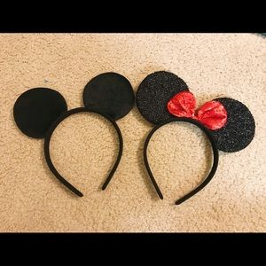 Mickey and Minnie Mouse Ear Headband set!